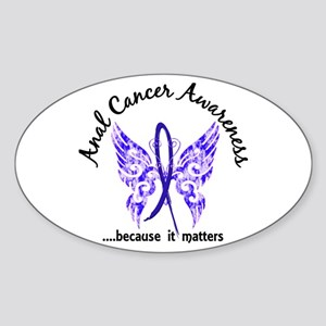 Anal Cancer Butterfly 6.1 Sticker (Oval)