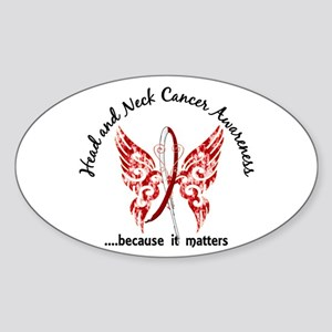 Head Neck Cancer Butterfly 6.1 Sticker (Oval)