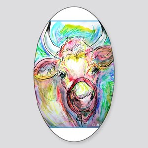 Cow, colorful, art, Sticker (Oval)
