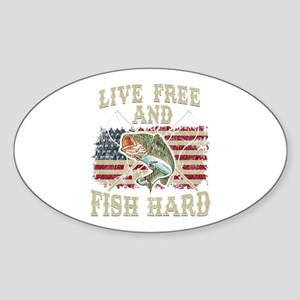 Live Free and Fish Hard Patriotic Fishing Sticker