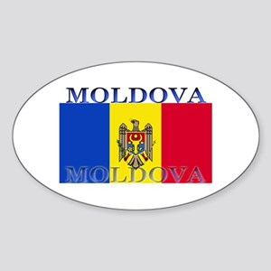 Moldova Moldovan Flag Oval Sticker