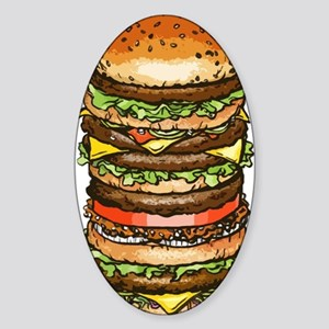 stacked burger drawing art Sticker (Oval)