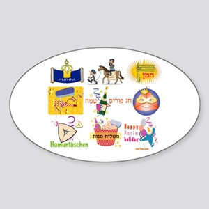 Happy Purim Collage Oval Sticker