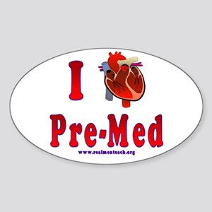 I Love Pre-Med Sticker (Oval)