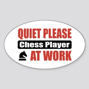 Chess Player Work Oval Sticker