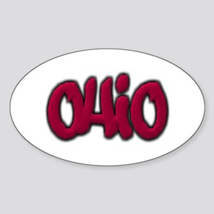 Ohio State Graffiti Style Lettering Sticker (Oval)