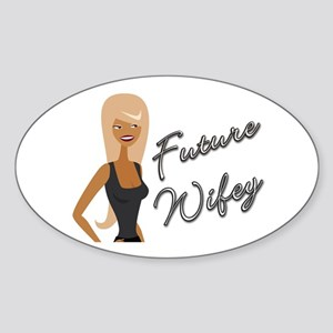 Curvy Font Future Wifey Oval Sticker
