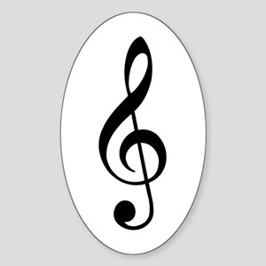 Treble Clef Oval Sticker