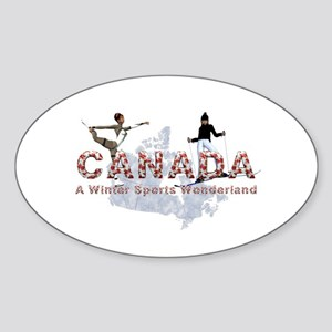 Canada Winter Sports Sticker (Oval)