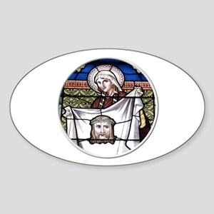 St. Veronica Stained Glass Window Sticker (Oval)