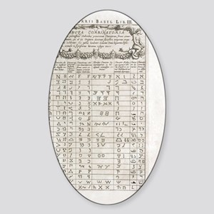 Linguistics table, 17th century Sticker (Oval)