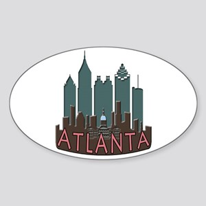 Atlanta Skyline Newwave Chocolate Sticker (Oval)