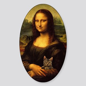 Monalisa with cat Sticker (Oval)