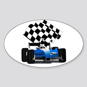 Blue Race Car with Checkered Flag Sticker