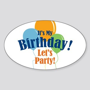 Birthday Party Balloons Sticker (Oval)