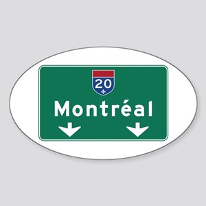 Montreal, Canada Hwy Sign Oval Sticker