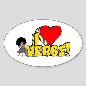 I Heart Verbs - Schoolhouse Rock! Oval Sticker