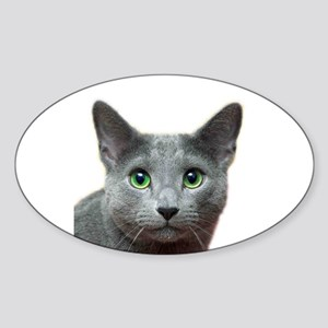 Russian Blue Cat Sticker (Oval)
