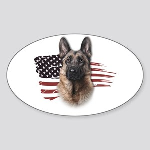 Patriotic German Shepherd Sticker (Oval)