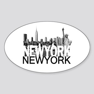 New York Skyline Sticker (Oval)
