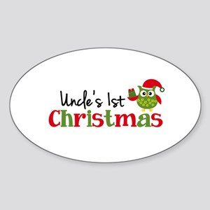 Uncle's 1st Christmas Owl Sticker (Oval)