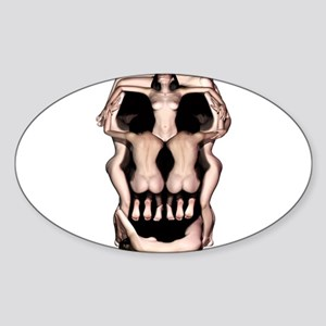 Women Skull Illusion Sticker (Oval)
