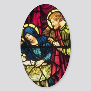 Nativity in Stained Glass Sticker (Oval)