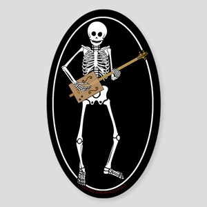 Cigar Box Guitar Bones Oval Sticker