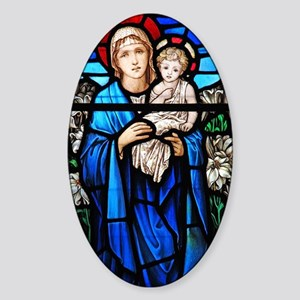 Religious stained glass window Sticker (Oval)