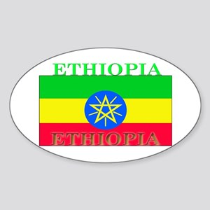 Ethiopia Ethiopian Flag Oval Sticker