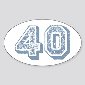 Blue 40 Years Old Birthday Oval Sticker