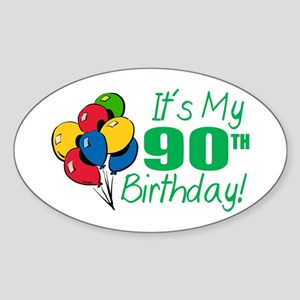 It's My 90th Birthday (Balloons) Oval Sticker