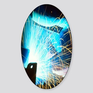 Sparks flying from an argon welder  Sticker (Oval)