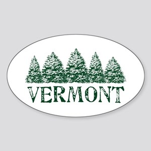 VT Winter Evergreens Sticker (Oval)