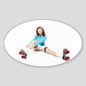 Pinup Girl on Roller Skates Sticker