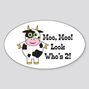 Cute Cow 2nd B-day Oval Sticker
