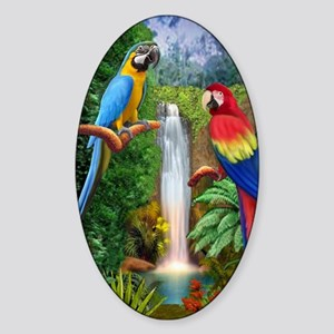 MaCaw Tropical Parrots Sticker (Oval)