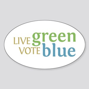 Live Green Vote Blue Oval Bumper Sticker