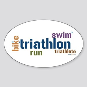 Triathlon Text - Blue Oval Sticker