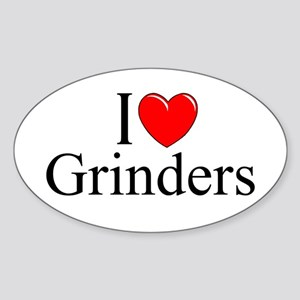 """I Love (Heart) Grinders"" Oval Sticker"