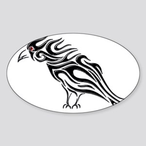 Glossy Black Raven Tattoo Sticker (Oval)