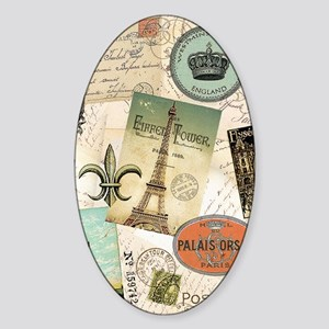 Vintage Travel collage Sticker (Oval)