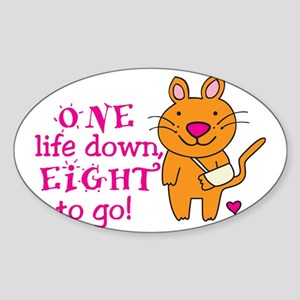 One Life Down... Sticker (Oval)