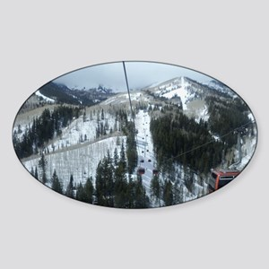 Mountain Gondola Ride Sticker (Oval)
