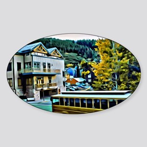 Park City Trolley Scene Sticker (Oval)