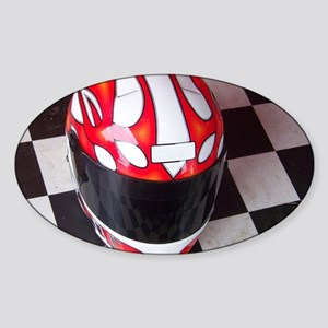 Race Helmet on Checkered Flag Sticker (Oval)