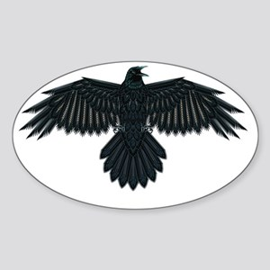 Beadwork Crow or Raven Sticker (Oval)