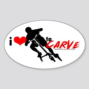 i (heart) to CARVE Oval Sticker