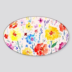Watercolor Abstract Poppy Blue Back Sticker (Oval)