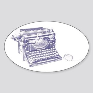 Vintage keyboard and mouse Sticker (Oval)